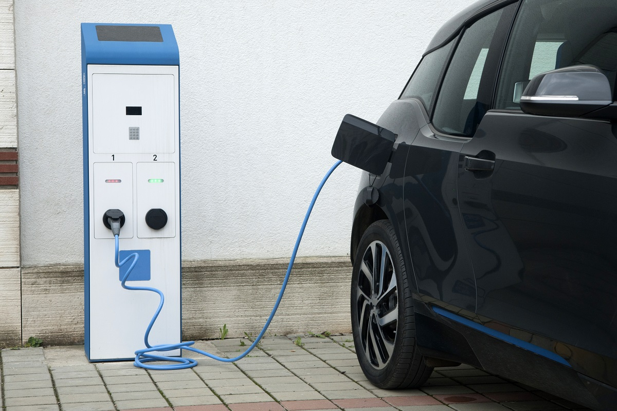 Electric vehicle at a charging station