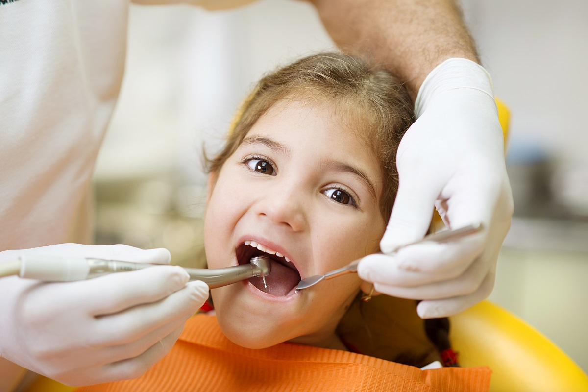 Child having a dental visit