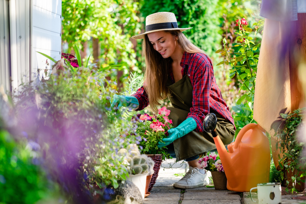 woman gardening at home