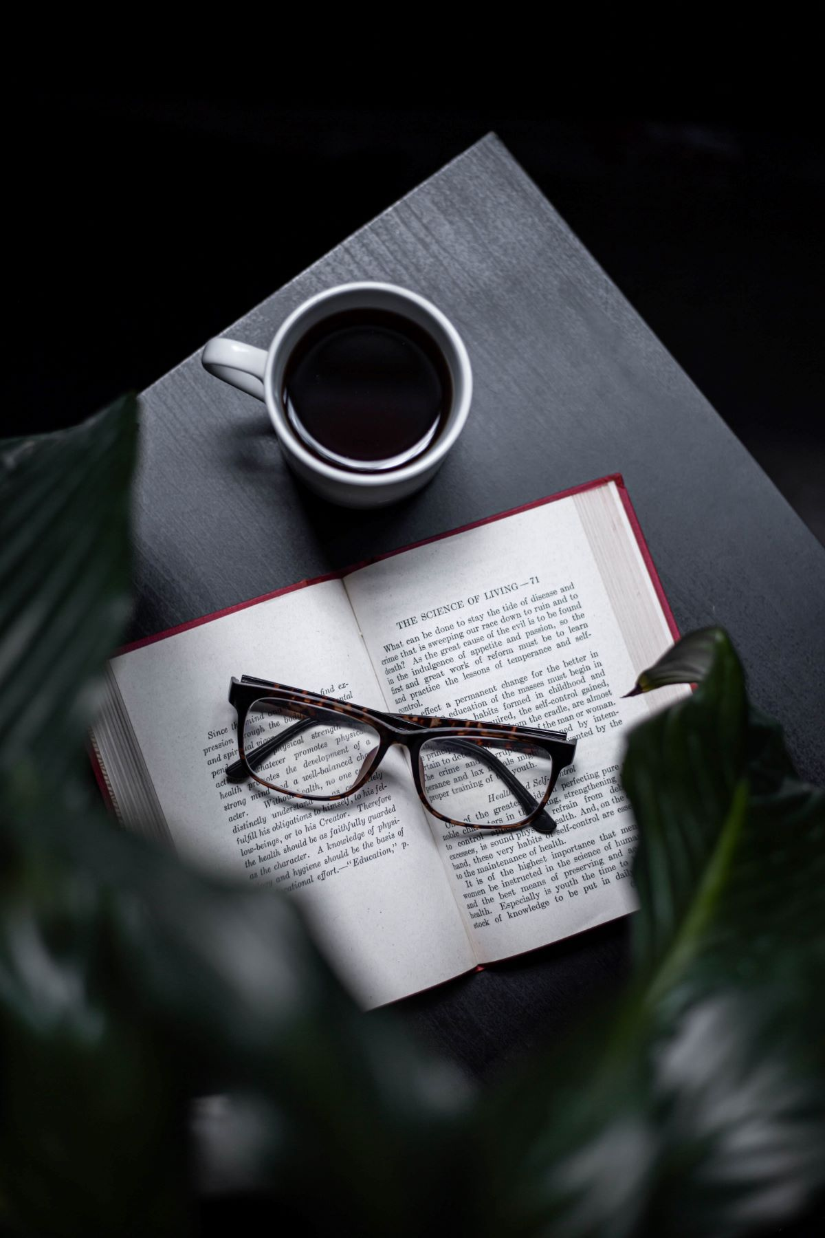 coffee book and reading glasses