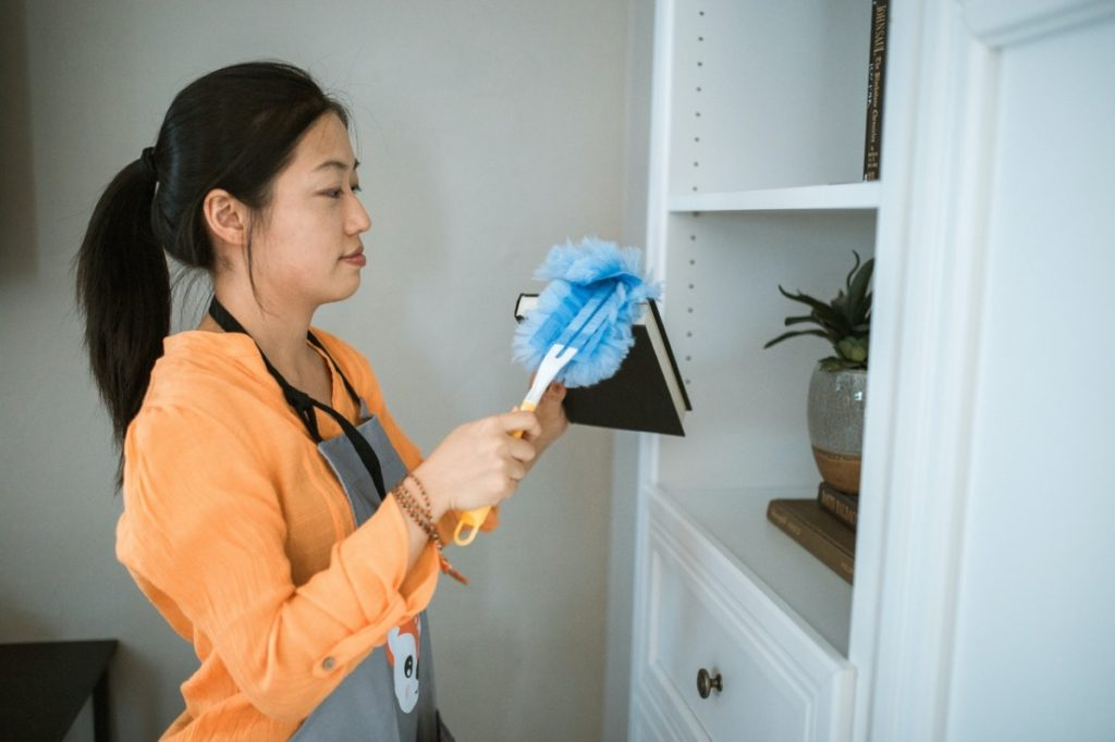 woman cleaning a shelf