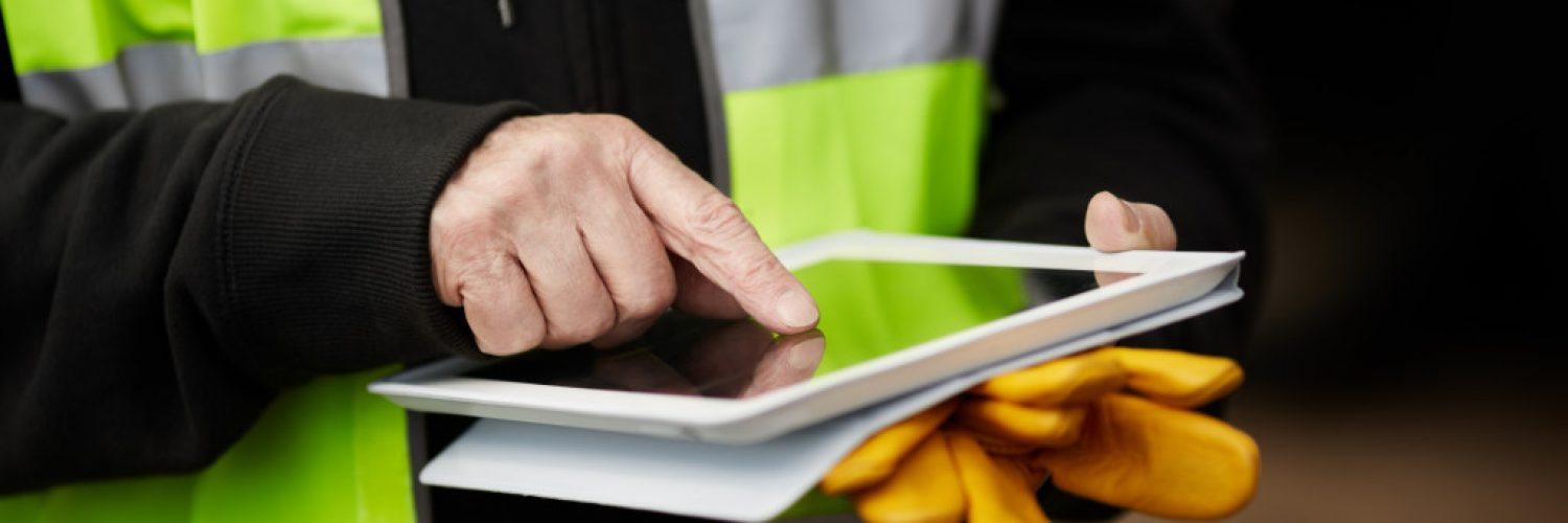 construction person using tablet